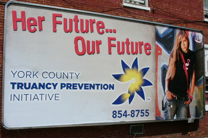 Photo of a Billboard for the York County Truancy Prevention Initiative.